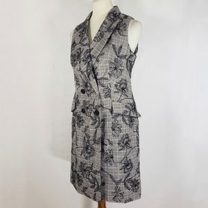 Calvin Klein Floral Double Breasted Gray Dress